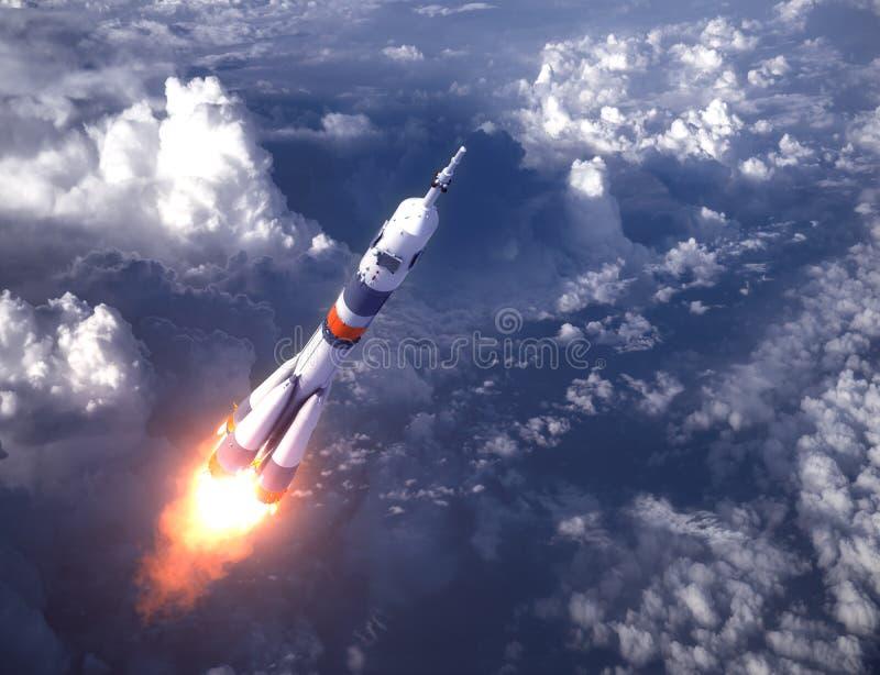 Rosyjski przewoźnik rakiety wodowanie W chmurach obrazy stock