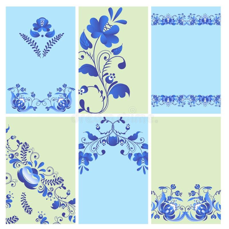 Rosyjski styl malująca ornament sztuki gzhel broszurka z błękitem na białego kwiatu kwiatu gałąź tradycyjnym ludowym wzorze royalty ilustracja