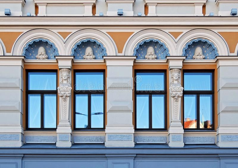 Rosyjski teatr Chekhova, fasadowi elementy Ryscy zdjęcia stock