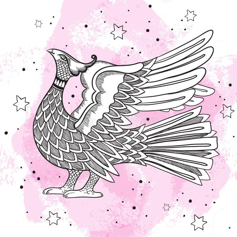 Rosyjski tradycyjny dekoracyjny ptasi symbol Piękny grawerujący rocznika ilustration odizolowywający Rosjanina stylu projekt ilustracja wektor