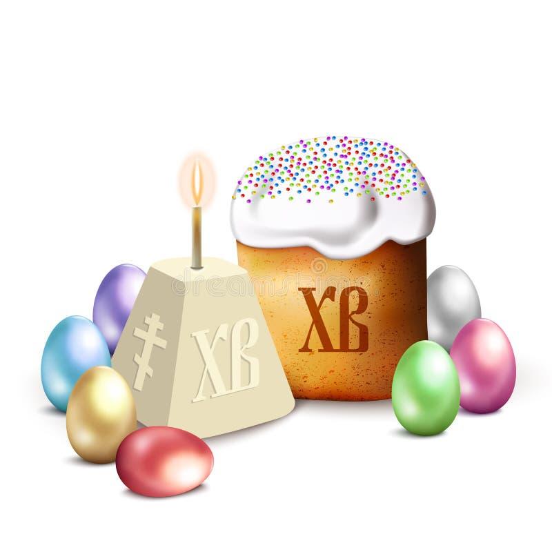 Rosyjski wielkanoc tort, chałupa ser, kolorowi jajka i wierzba, rozgałęziamy się Odizolowywający na Białej Wektorowej ilustraci royalty ilustracja