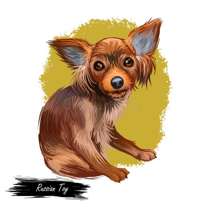 Rosyjski Zabawkarskiego psa portret odizolowywający na bielu Cyfrowej sztuki ilustracja ręka rysujący pies dla sieci, koszulka dr ilustracja wektor