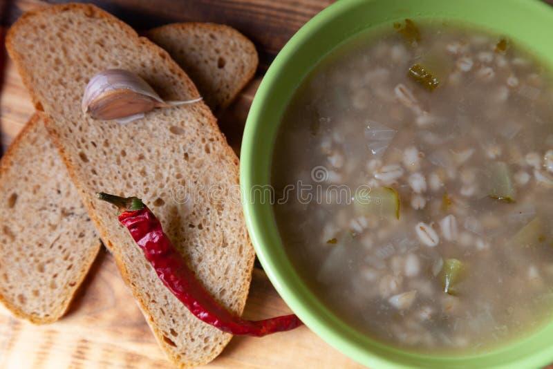 Rosyjski zupny «rassolnik «, chleb i pikantność na palącym drewnianym stole, Tradycyjny wiejski gość restauracji zdjęcie stock