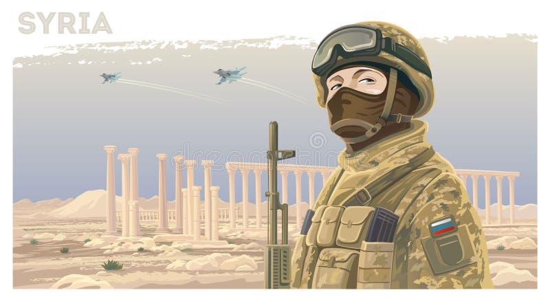 Rosyjskie jednostki specjalne przeciw tłu syryjczyka krajobraz ilustracja wektor