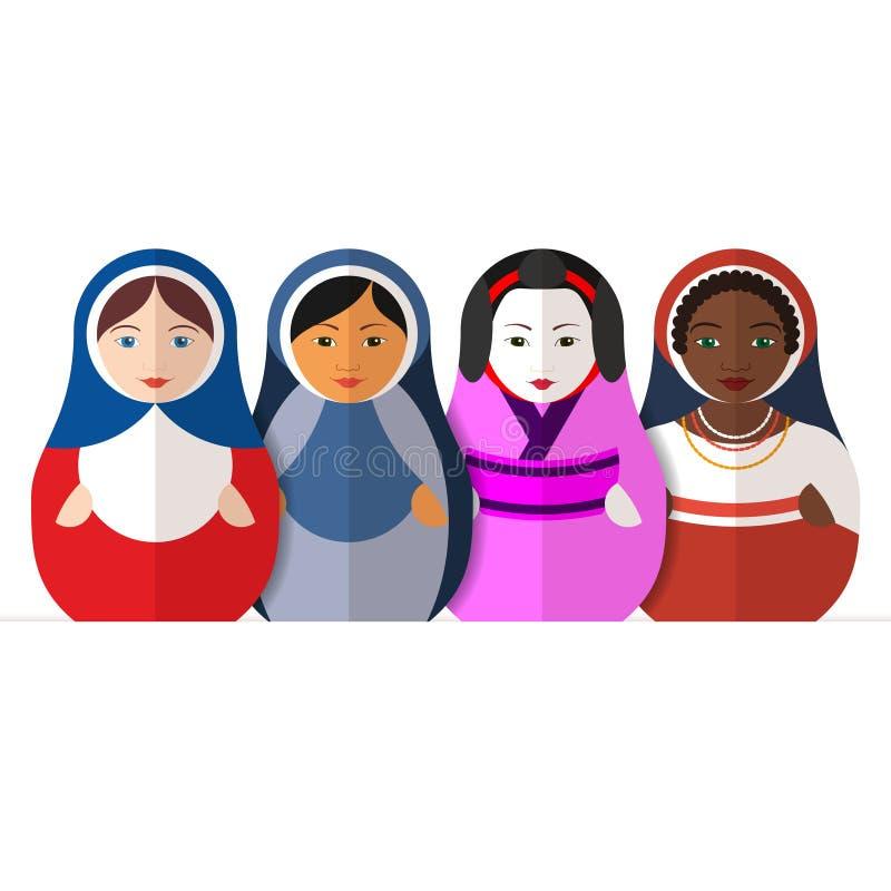 Rosyjskie matryoshka lale w różny tradycyjnym odziewają ilustracja wektor