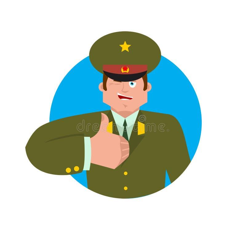 Rosyjskie oficer aprobaty, mrugnięcia i Żołnierza szczęśliwy emoji Milita royalty ilustracja