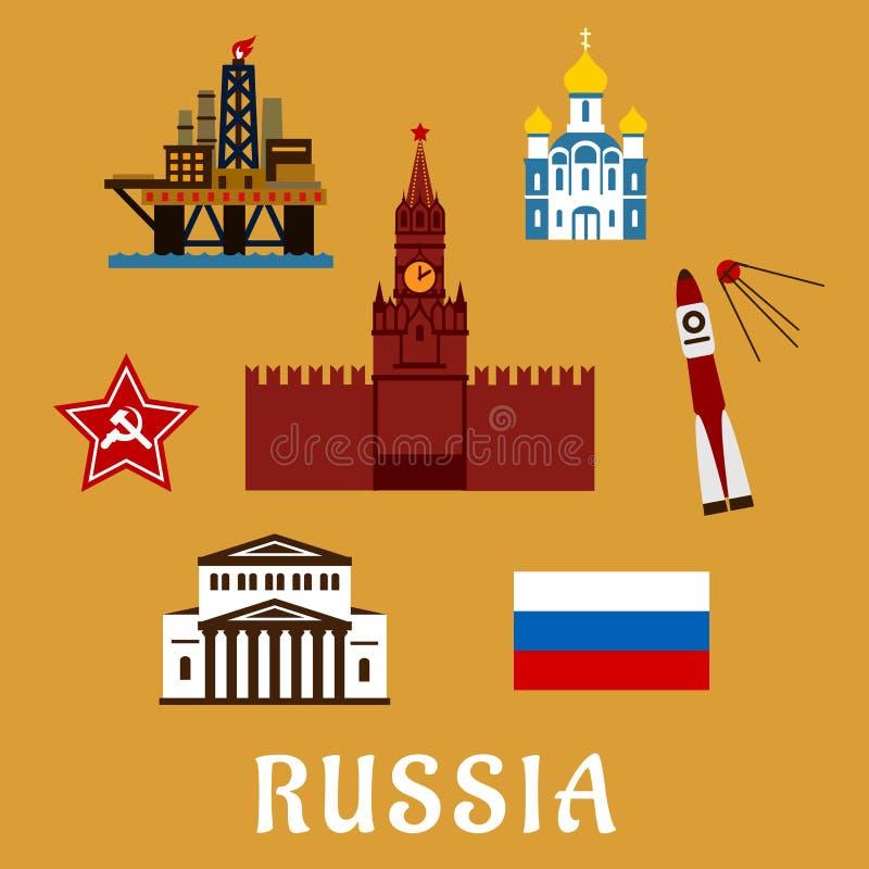 Rosyjskie płaskie podróży ikony, symbole i ilustracja wektor