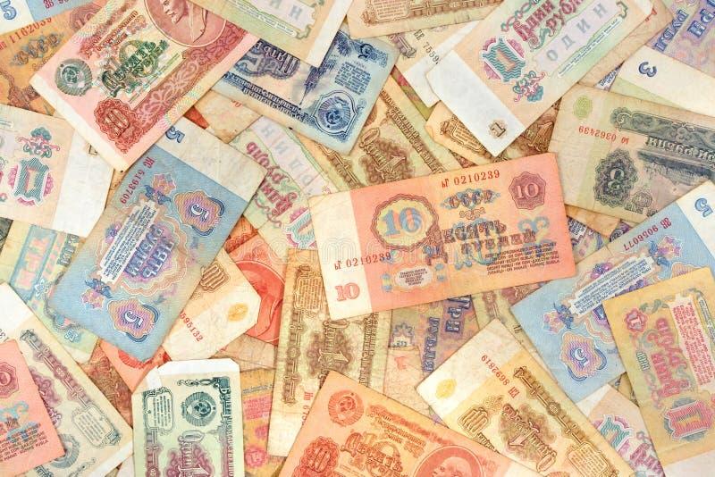 rosyjskie pieniądze tła stary radziecki fotografia royalty free
