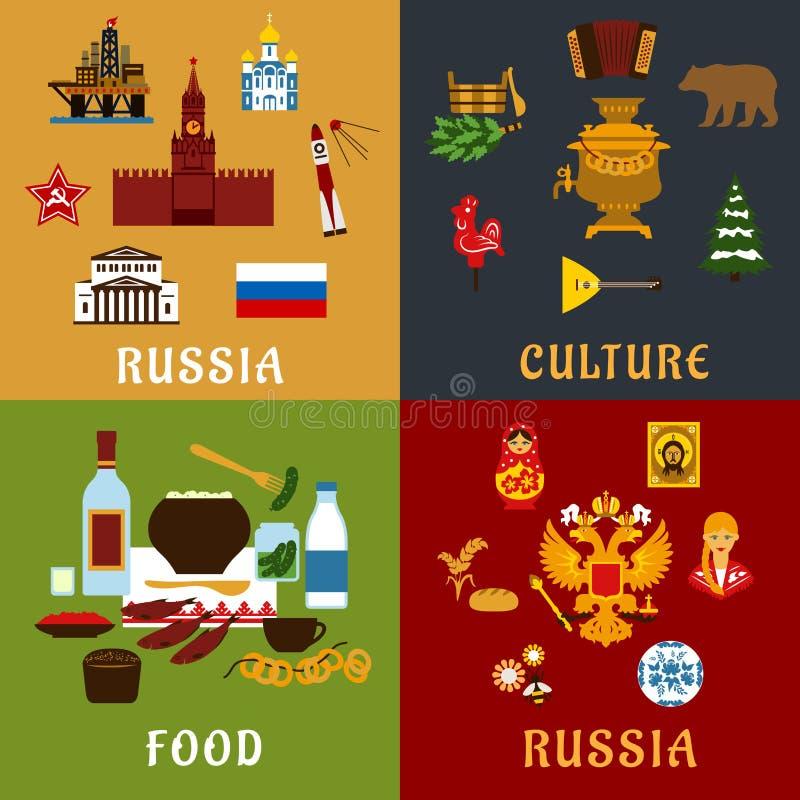 Rosyjskie podróży i kultury mieszkania ikony ilustracji