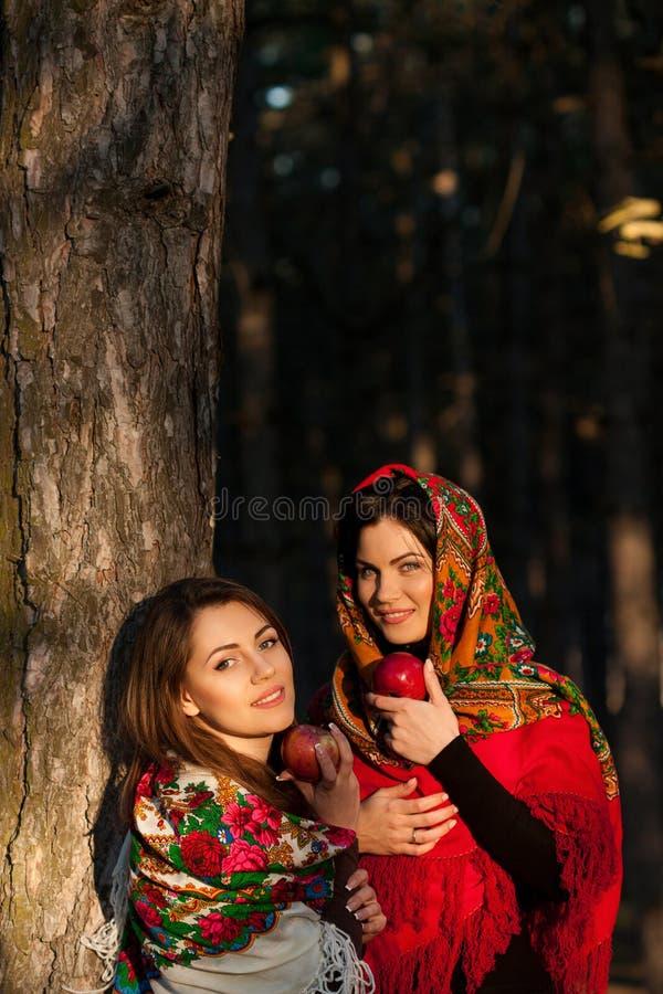 Rosyjskie wiosek dziewczyny w chustka na głowę w zwartym lesie obraz royalty free