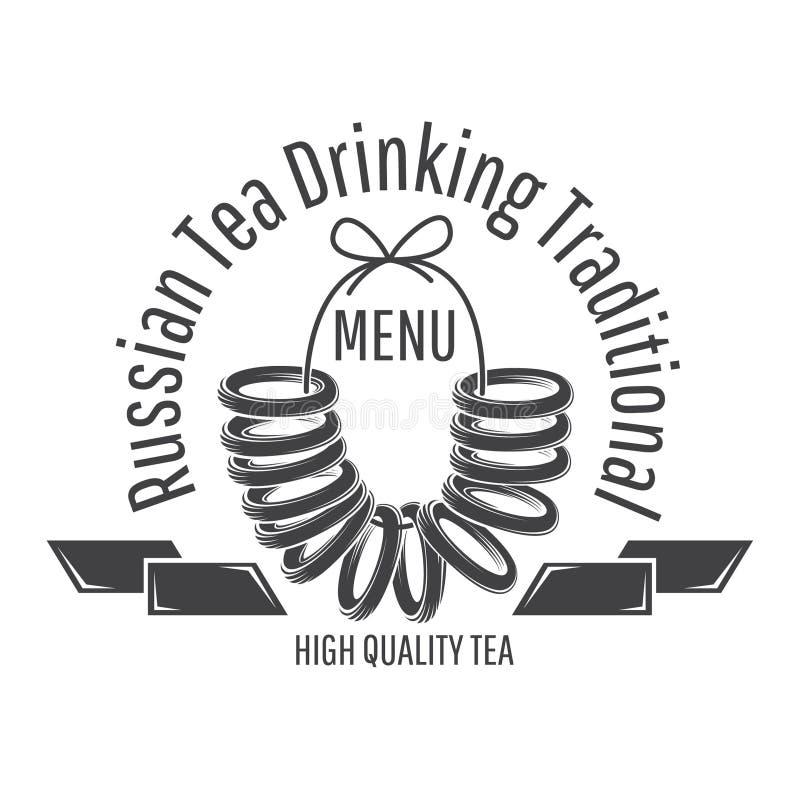 Rosyjskiego cukierki suchy chleb, kształtująca chlebowa rolka na sznurku Logo dla kawiarni, teahouse, herbaciany przyjęcie, pieka royalty ilustracja