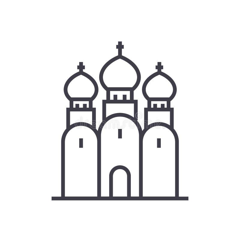 Rosyjskiego Kościół Prawosławnego wektoru linii ikona, znak, ilustracja na tle, editable uderzenia ilustracji