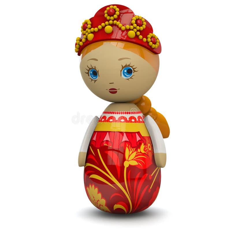 Rosyjskiej dziewczyny lali Drewniana zabawka ilustracji