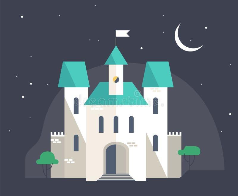 Roszuje przy nocą, mieszkanie stylowa wektorowa ilustracja royalty ilustracja
