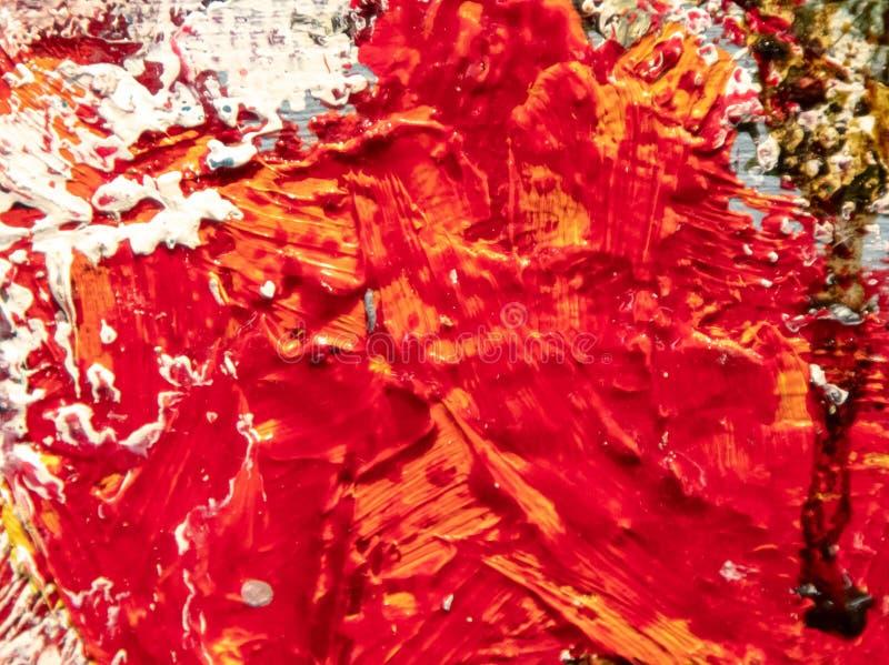 Rotölfarbe auf Segeltuch als abstraktem Hintergrund stockfotografie