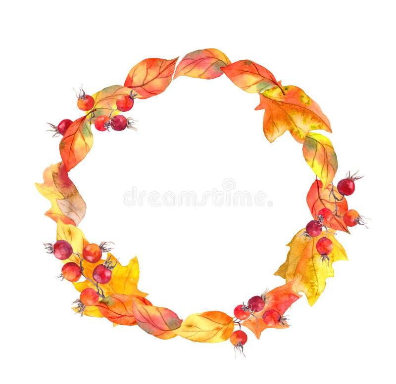 Rot-Blätter und Beeren Autumn Wreath Aquarellkreisrahmen vektor abbildung