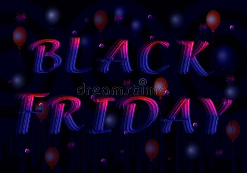 Rot-blaue Buchstaben in einem 3D für Aufschrift Black Friday lizenzfreie abbildung