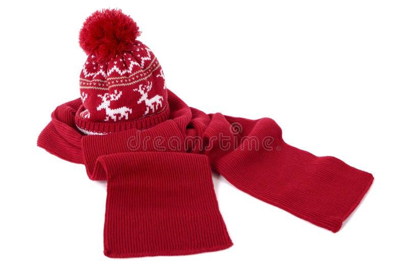 Rot bobble Hut und Schal stockbilder