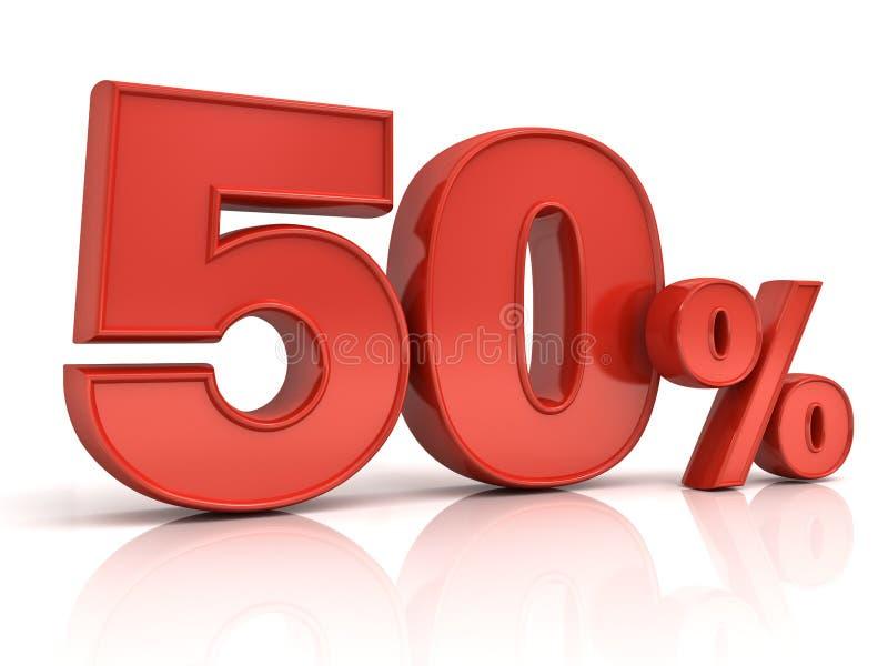 Rot 3D fünfzig Rabatttag der Prozent oder des Sonderangebots 50% lokalisiert über Weiß stock abbildung