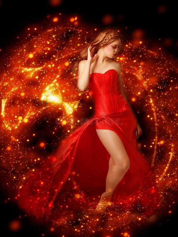 Rot, Dame, Tänzer, Dunkelheit