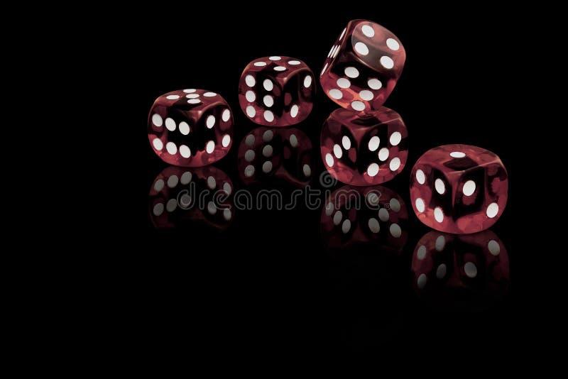 Rot fünf würfelt auf schwarzem Hintergrund stockfotos