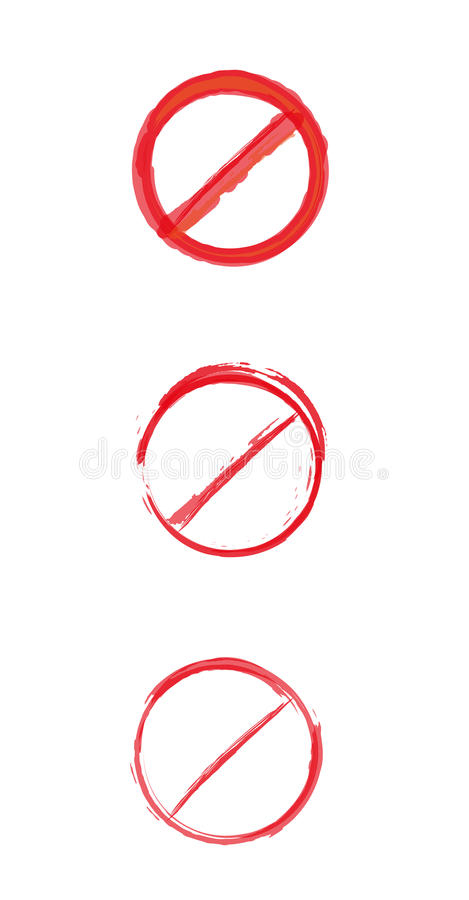 Rot gekreuztes Kreiswarnschild lizenzfreie abbildung