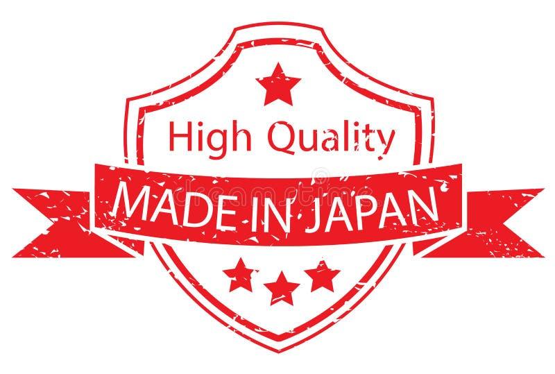 Rot gemacht in Japan-Aufkleber stock abbildung