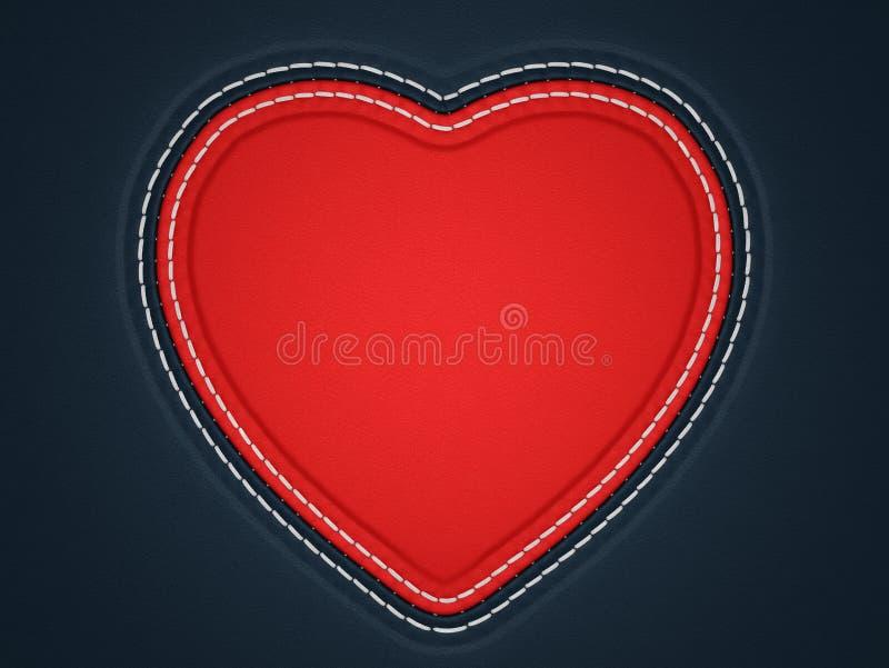Rot genähte Herzform auf schwarzem Leder stock abbildung