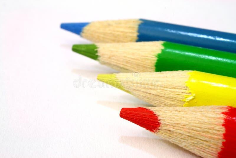 Rot, grün, gelb und Blau stockbild
