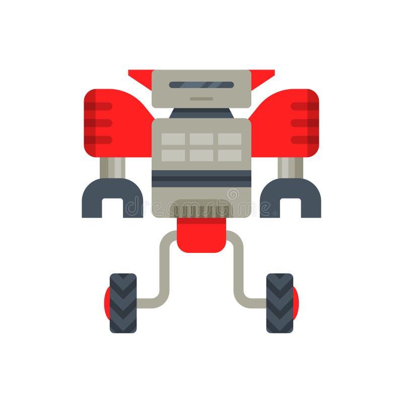 Rot-grauer Roboterstahltransformator auf zwei Rädern Metall android mit den Greiferhänden Flacher Vektor für bewegliches Videospi stock abbildung