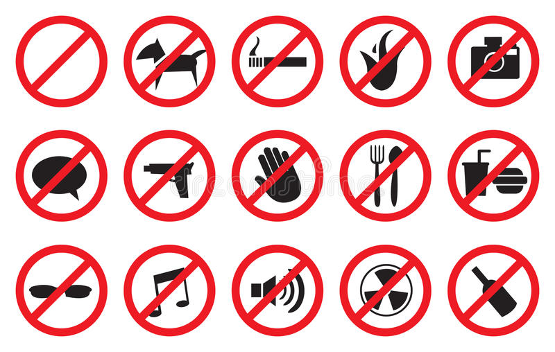 Rot keine Zeichen und anti- Symbole für verbotene Tätigkeiten stock abbildung