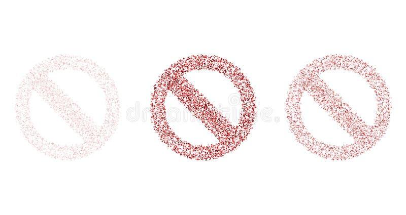 Rot kreuzte das Kreiswarnschild, das von den roten Punkten geschaffen wurde stock abbildung