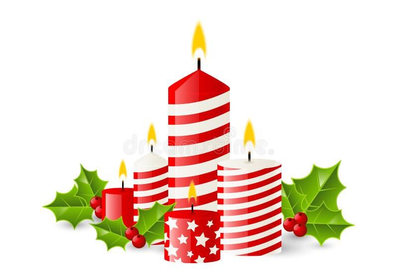 Rot leuchtet Weihnachtsflamme durch lizenzfreie abbildung