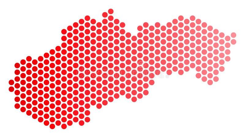Rot punktierte Slowakei-Karte lizenzfreie abbildung