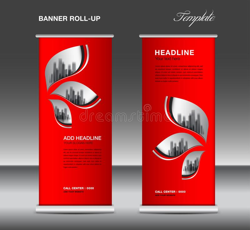 Rot rollen Sie oben Fahnenschablonenvektor, Anzeige, Xfahne, Plakat, hochziehen Entwurf, Anzeige, Plan, Geschäftsflieger, Netzfah stock abbildung