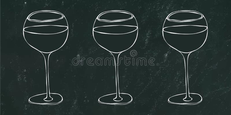 Rot, Rose und Weißwein in einem Glas Schwarzer Brett-Hintergrund und Kreide Hand gezeichnete vektorabbildung Kritzeln Sie Art stock abbildung