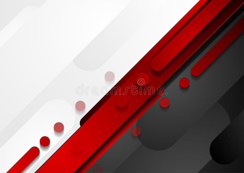 Rot-, Schwarzer und Grauergeometrischer Technologiezusammenfassungshintergrund vektor abbildung
