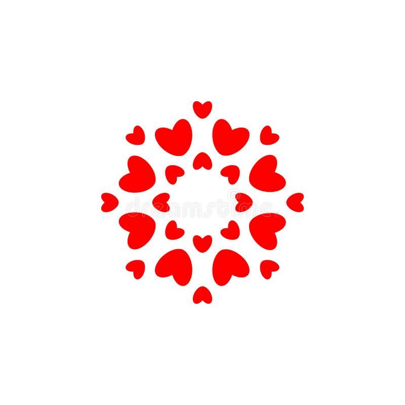 Rot stieg auf wei?en Hintergrund Rote Herzen im Kreis, einfache Eleganzrunden-Logoschablone Konzeptentwurf für die Heirat und Val lizenzfreie abbildung