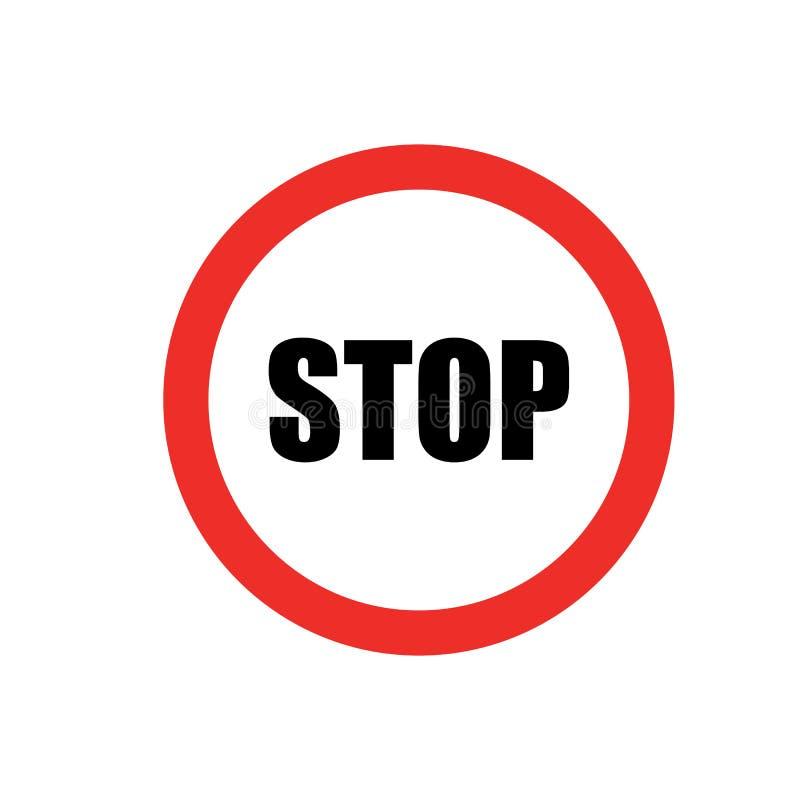 Rot stoppen AufmerksamkeitsVerkehrsschild Stoppen Sie Verkehrsschild-Ikonenvektor eps10 lizenzfreie abbildung