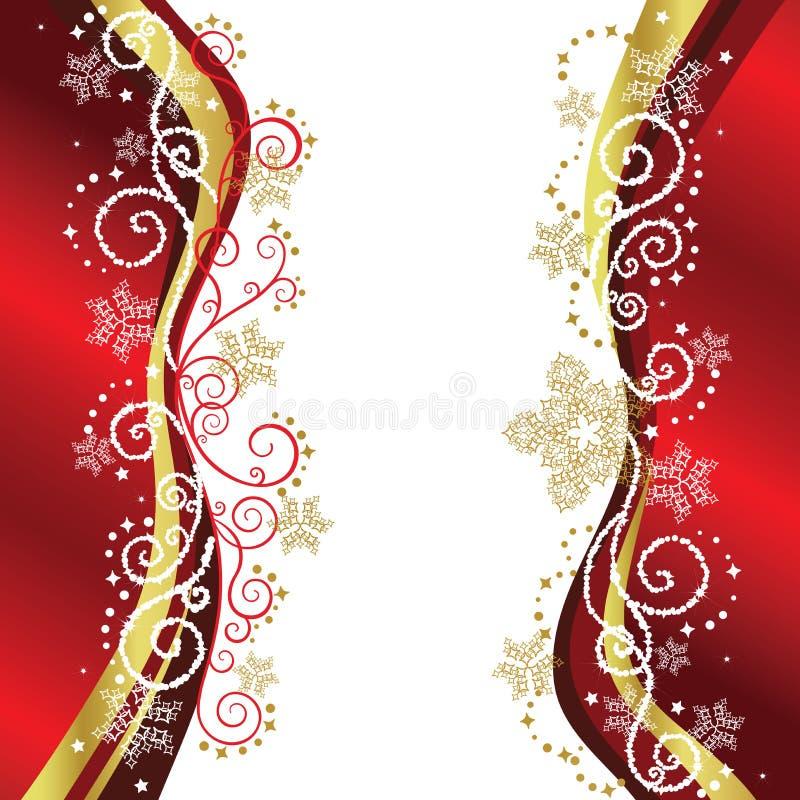 Rot-u. Goldweihnachtsrandauslegungen vektor abbildung