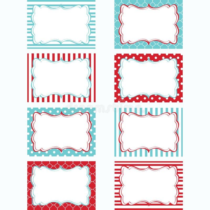 Rot und Aqua Printable Labels Set Tags, Foto-Rahmen, Geschenk-Tags, Scrapbooking, machende Karte, Einladung lizenzfreie abbildung