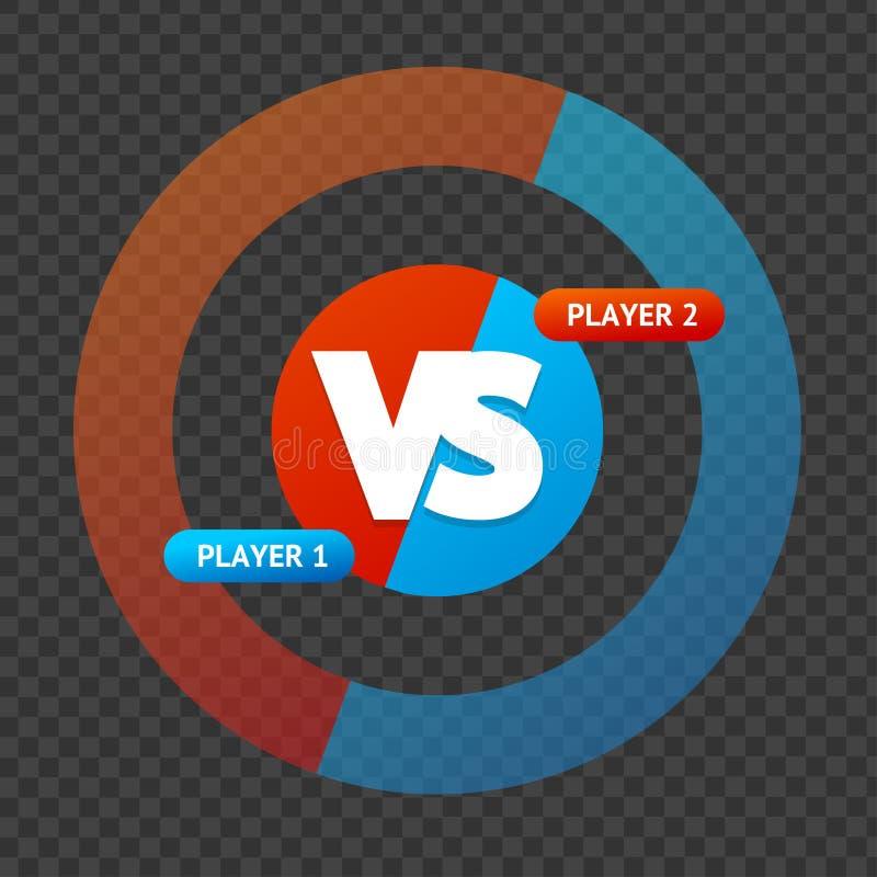 Rot und blau gegen Zeichen auf einem transparenten Hintergrund Vektor vektor abbildung