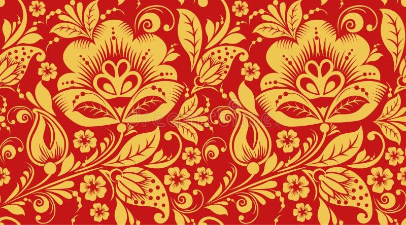 Rot und Gold-hohloma nahtlose Musterbeschaffenheit stock abbildung