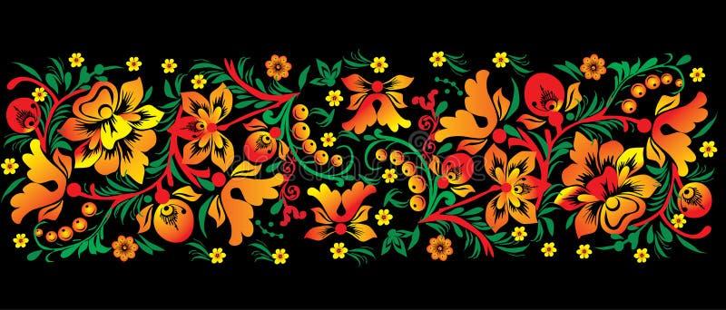 Rot und Goldblumenband auf Schwarzem stock abbildung