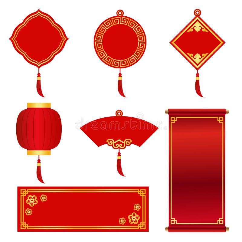 Rot und Goldfahnenaufkleber für chinesisches neues Jahr und chinesisches Festival vector Bühnenbild vektor abbildung