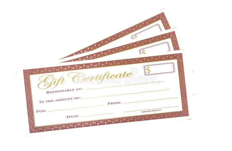 Rot und Goldferiengeschenk-Zertifikate stockbilder