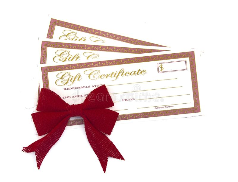 Rot und Goldferiengeschenk-Zertifikate lizenzfreies stockbild