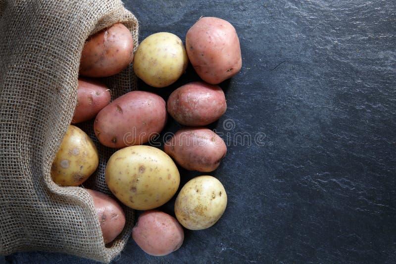 Rot- und Goldkartoffeln stockbilder