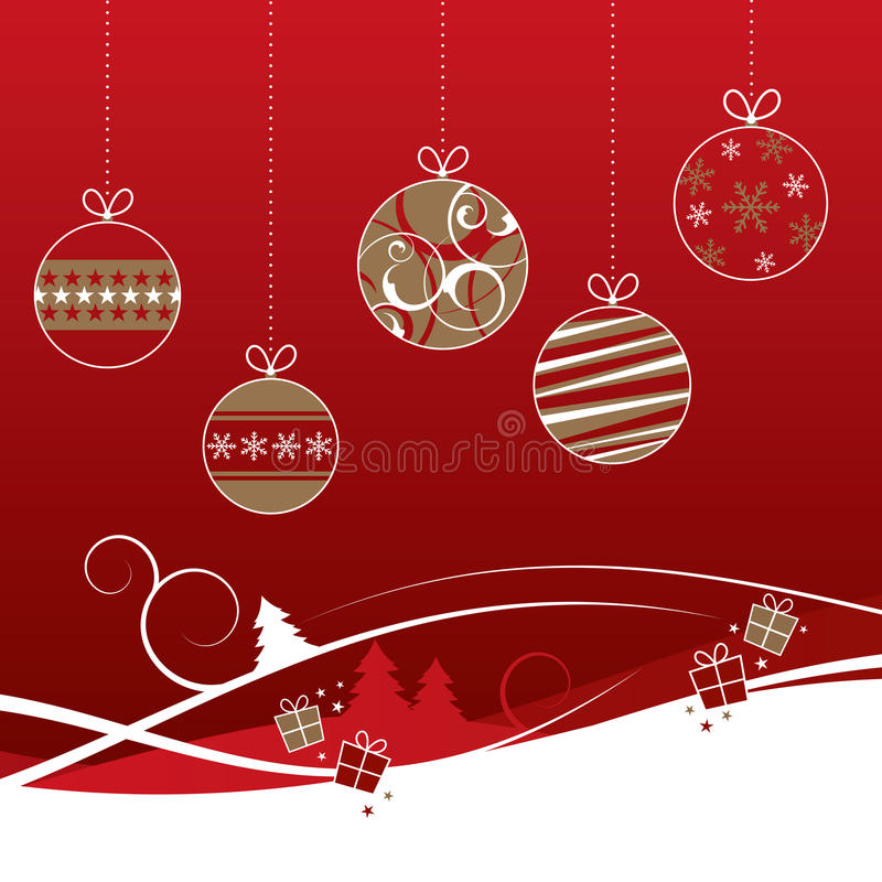 Rot- und Goldweihnachtsflitter lizenzfreie abbildung