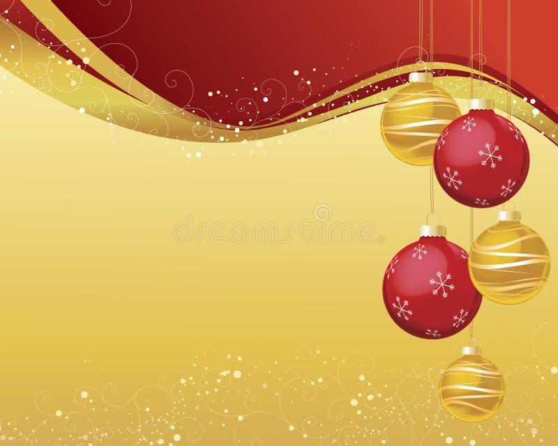 Rot und Goldweihnachtshintergrund vektor abbildung